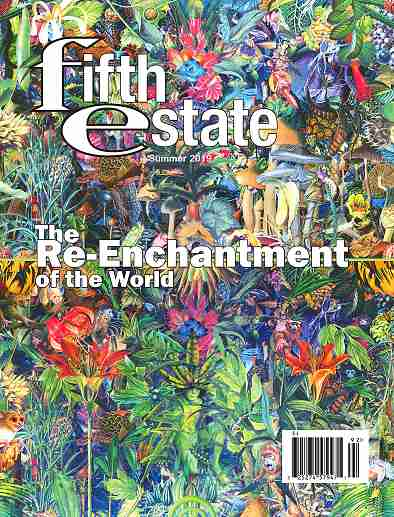 """Cover image, Issue 404, Summer, 2019, features a naturalistic """"riot of color"""" collage as background. Heading reads """"The Re-enchantment of the World."""""""