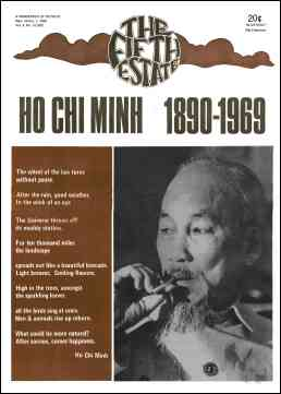 "cover image, Issue 88, September 18-October 1, 1969. Headline reads ""Ho Chi Minh, 1890-1969,"" a large portrait photo of him appears below."