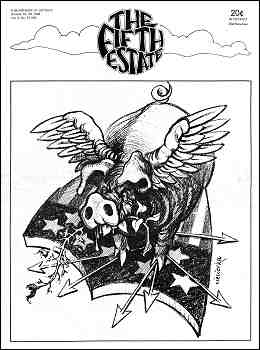 Cover image, Issue 90, October 16-29, 1969; cartoon shows a predatory eagle surrounded by patriotic symbols