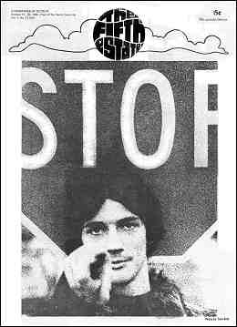 Cover image, Issue 64, October 17-30, 1968. Large STOP sign over photo of a young man pointing at viewer.