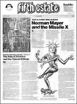Cover image, #311, Winter, 1983. In addition to the text of 2 articles, the page features a drawing of a sexualized image of the Statue of Liberty in a dance pose.