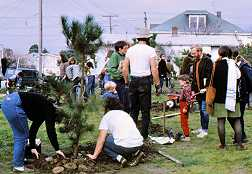 Photo shows adults and children gardening in a vacant lot on a sunny day.