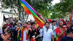 Photo shows a joyous crowd in a park setting with rainbow flag prominently displayed.