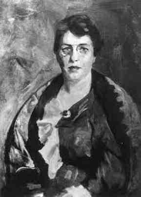 Black and white photo of Robert Henri's 1915 portrait of Emma Goldman