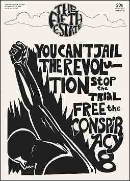"Cover image, Issue 92, November 13-26, 1969. Drawing shows a raised fist; text reads, ""You can't jail the revolution, stop the trial, free the Conspiracy 8."""