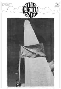 Cover image, Issue 93, November 27-December 10, 1969. A photo shows a National Liberation Front flag flying, with the Washington Monument in the background.