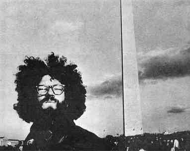 Anti-war march, Washington, November 15, 1969. Photo shows an individual protester with Washington Monument in the background.