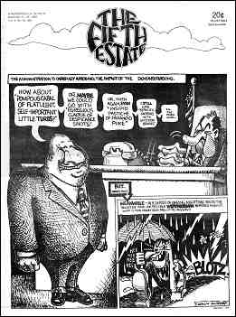 Cover image, Issue 94, December 11-24, 1969. Text for front page cartoon strip: Panel 1 shows an over-weight man in a business suit addressing President Nixon. Caption: The administration is carefully assessing the impact of the demonstrations. Panel 2: Shows a wildly grinning running figure, with a letter W on the chest, carrying an umbrella in a rainstorm, laughing: Hee, hee, hee, hee. In the background an explosion is shown with the sound: blotz. Caption: But, what's this? Meanwhile--in a series of daring nighttime raids, the sinister and incredible WEATHERMAN strikes again!!! What is this crazy bastard up to, anyway? Speech balloon text is displayed on web page below image.