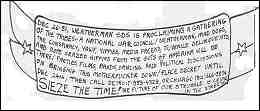 Drawing of a hand-lettered banner. Text is reproduced on same page.