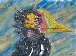 Image of painting on page 32, Fifth Estate issue 404, Summer, 2019. The subject is a bird with yellow, gray and white feathers and bill coloration of pink, green and orange.