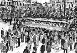 Drawing depicts a crowd overturning a large streetcar during the Winnipeg General Strike of 1919.