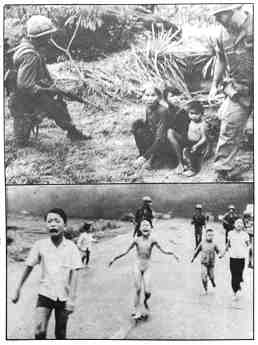 Two photos. Top photo shows two U.S. GIs guarding three Vietnamese children. One of the GIs is pointing a rifle at the children. The bottom photo shows five frightened Vietnamese children running down a road screaming, with three U.S. GIs behind them, carrying rifles, and smoke in the background.
