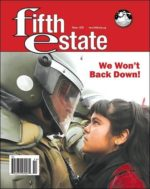 Cover image, issue 405, Winter 2020. Photo shows a girl confronting a law officer in riot gear.