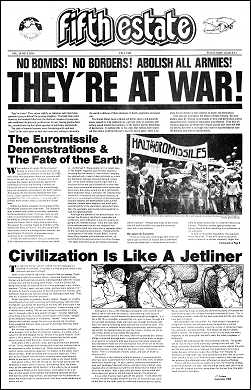 "Cover image, Issue 314, Fall 1983. Large-format newspaper front page showing Headlines and related images, ""They are at War"" and ""Civilization is like a Jetliner."""