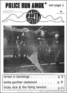 "Cover image, Issue 66, November 14-27, 1968 - Fifth Estate Magazine. Headline reads ""Police Run Amok."" Image shows an officer about to strike a man with a nightstick."