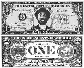 Front and back images of Dick Gregory one-dollar bill featuring a portrait of Gregory in place of Washington.