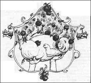 "Illustration for sidebar, ""Time and the pig,"" showing apples in a tree and a small pig; see text on this page."