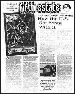 "Cover image, Issue 337, Late Summer, 1991. Contains article about the Guolf War. Headline reads ""How the US got away with it."""