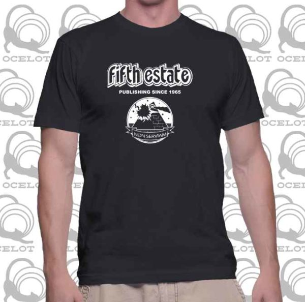 photo shows the torso of a man wearing a black Fifth Estate t-shirt
