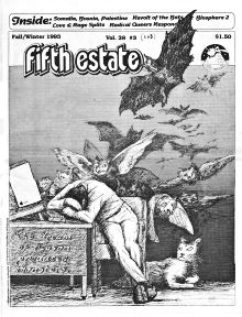 Cover image, Issue 343, Fall-Winter, 1993. Drawing shows a cowering man being attacked by large birds.