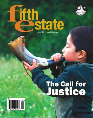 "Cover image, Issue 406, Spring 2020. Photo shows a boy blowing a ram's horn. Headline reads, ""The Call for Justice."""