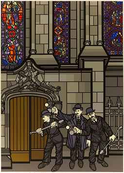 drawing shows four men in suits prying open the door of a cathedral.