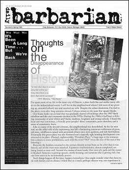 Image of page 1 of Daily Barbarian insert, Fifth Estate issue 344. Largest headline is Thoughts on the Disappearance of History, article in this issue.