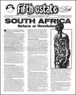 "Cover image, Issue 321, Indian Summer, 1985. Text of lead story, ""South Africa: Reform or Revolution"""