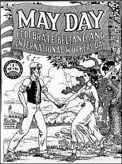 Black and white line drawing shows a smiling young man and woman meeting and greeting. Caption reads I.W.W., May Day, Celebrate Beltane and International Workers' Day