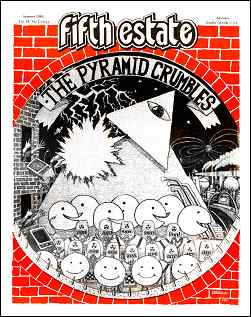 "Cover image, Issue 317, Summer, 1984. A full-page drawing shows a pyramid being struck by lightning. Caption above reads, ""The pyramid crumbles."""