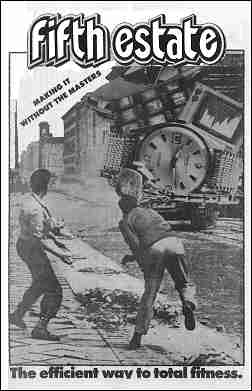 "Cover image, Issue 319, Winter, 1985. A photo montage shows two men in a war-torn street hurling projectiles in the direction of gigantic TV sets and wristwatches. Caption reads, ""The efficient way to total fitness."""