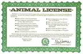 Back page graphic shows an Animal License with appearance of a legal document. Text is presented in full on this page.