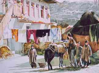 Painting by Masood Hussain (Kashmir) shows a mountainous rural scene. A group of people are shown standing in foreground; in the background a large amount of laundry is seen drying on clotheslines.