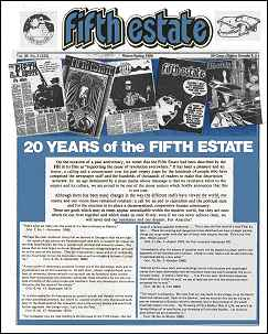 "Cover image, Issue 322, Winter-Spring, 1986. Features a montage of past Fifth Estate covers; headline reads,""20 years of the Fifth Estate;"" page one story takes up bottom half of cover."