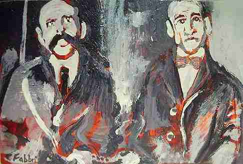 A portrait painting of Sacco and Vanzetti. The image is monochromatic except for bright red applied to parts of the subjects features and bodies, suggestive of blood or flames.
