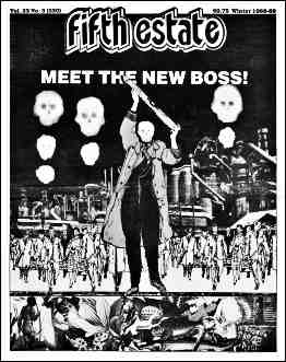 """Cover image, Issue 330, Winter, 1988-89. Headline reads, """"Meet the New Boss."""" Cartoon shows politician brandishing model of a missile, surrounded by skulls, apocalyptic scenes."""