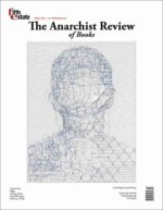 """Cover image, Issue 408, Winter, 2021, Anarchist Review of Books. Features """"Is she guilty because she ran"""" by Ben Durham, ink and graphite portrait on handmade paper and steel chain-link fence"""
