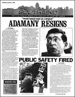 """Cover image, insert, spoof issue of The South End newspaper. Main headline reads """"Adamany Resigns: most hated man on campus"""""""