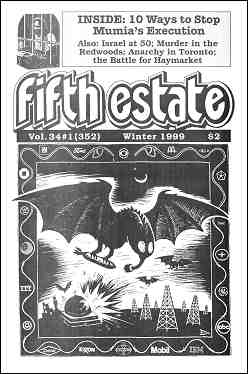 Cover image, Issue 352, Winter, 1999. Illustration by Eric Drooker shows a menacing bat carrying a guided missile over a night world. The image is framed by corporate logos.