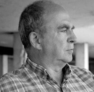 black and white photo portrait of Stuart Christie as an older man