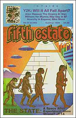 Cover image, Issue 353, Summer, 1999. A color cartoon shows 4 naked people, 3 adults and 1 child walking from left to right. A pyramid and modern buildings are in the background.