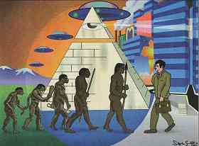 """Image shows several human figures presented as the """"descent of man,"""" being confronted by a """"modern"""" man in business suit. In the background are pyramids and modern buildings."""