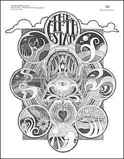 Cover image, Issue 67, November 28-December 11, 1968. A black and white psychedelic drawing featuring multiple iconic images suggestive of astrological signs.