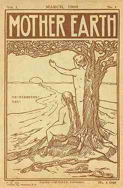 Cover image of Mother Earth magazine, March, 1908. Drawing shows a nude man and woman greeting the dawn in a rural setting.