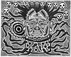 Linocut image of Slovodan Milosovic, who is depicted as engendering skulls and serpents