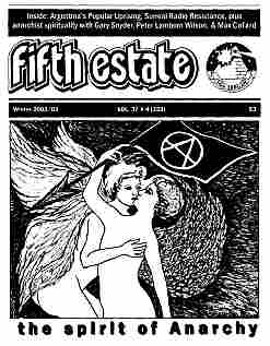 """Cover image, Issue 359, Winter, 2002-2003. Drawing in classical Greek style, shows two naked lovers kissing. Headline reads, """"The spirit of anarchy."""""""