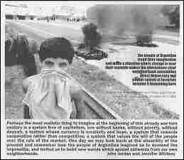 Back cover graphic, Issue #359, Winter, 2002-2003. Photo shows a masked young boy with the remains of urban fires in the background. Accompanying text is reproduced on page.