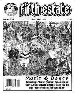 Cover image, Issue 361, Summer 2003. A black-and-white drawing shows a joyous scene of people dancing in a park setting. A headline shows the issue theme, Music & Dance.