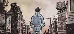 An image from 1984, the graphic novel. Shows a man in a dreary, London-like street scene.