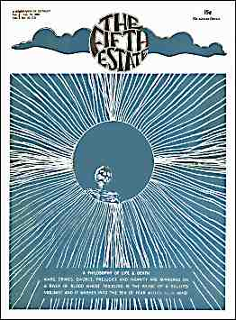 """Cover image, Issue 72, February 6 - 19, 1969. White on blue background. Fine lines radiating from a central disk. Text readt, """"A Philosophy of Life & Death. War, crimes, divorce, prejudice and insanity are mirrored on a river of blood whose trickling is the music of a skulled violinist and it washes into the sea of fear within your mind."""""""